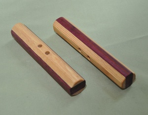 Hickory, Purpleheart, and Paduak 6 x 7/8 inches includes black cord $35 (sold)