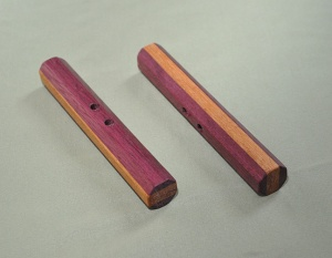 Purpleheart and Hickory 6 x 7/8 inches includes black cord $35