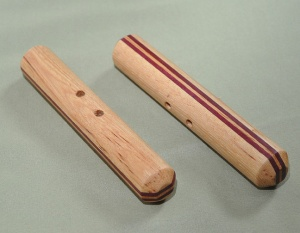 Hickory and Purpleheart Hand-carved 6 x 1 inches includes black cord $45
