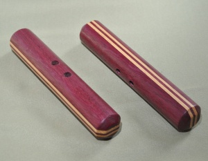 Purpleheart and Hickory Hand-carved 6 x 1 inches includes black cord $45