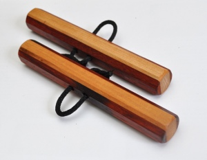 Octagonal Chizi Kunbo (pair) Paduak and Hickory 6 x 7/8 inches $35 (includes black cords)