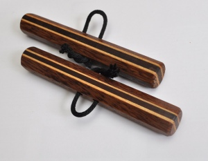 Octagonal Chizi Kunbo (pair) Red Palm, Hickory, and Katalox 6 x 7/8 inches $45 (includes black cords)