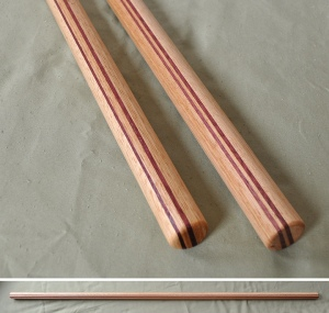 Handcarved Jo Purpleheart and Hickory 50 x 1-1/8 inches $110