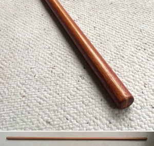 Handcarved Reverse Taper Bo Purpleheart, Jatob, and Hickory 72 x 1-1/4 inches $145 (Sold)