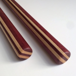 Tanbo (pair) Purpleheart and Hickory 24 x 1-1/8 inches $85 (sold)